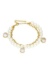 Glitter Disco Ball Charm And Pearl Double Strand Bracelet White