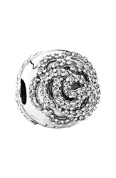 Pandora Design 'Shimmering Rose' Clip Charm Silver Clear