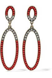 Kenneth Jay Lane Gold Plated Crystal And Stone Earrings Red
