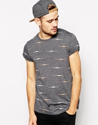 Asos T Shirt With All Over Print And Rolled Sleeve Charcoalmarl