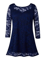 Grace Made In Britain Lace Tunic Navy