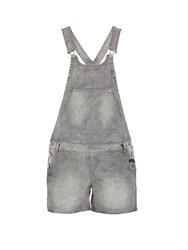 Morgan Short Dungarees With Buttoned Detailing Mid Grey Marl