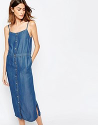Warehouse Cami Button Through Denim Dress Light Wash Blue