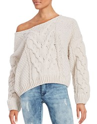 Free People Knit Off The Shoulder Sweater Ivory