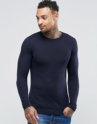 Asos Muscle Fit Cotton Crew Neck Jumper Navy