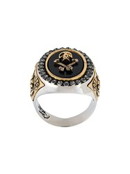 Alexander Mcqueen Skull And Crossbones Ring Metallic