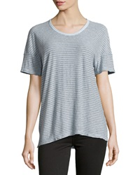 James Perse Striped Cotton Blend Jersey Tee Sky Blue