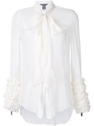 Thomas Wylde Ruffled Sleeve Top White
