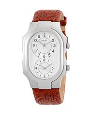 Philip Stein Teslar Large Signature Rectangle Leather Strap Watch Brown