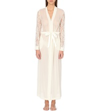 La Perla Shape Allure Long Silk And Lace Robe Ivory