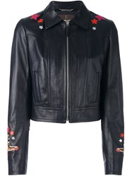 Roberto Cavalli Circus Patch Leather Jacket Blue