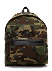 Saint Laurent Camouflage Star Applique Canvas Hunting Backpack Khaki