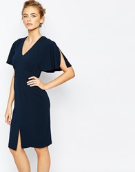 Closet Midi Dress With Angel Sleeve Navy