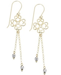 Macy's 14K White And Yellow Gold Earrings Two Tone Chain And Bead Wire Drop Earrings