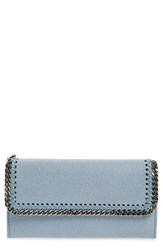 Stella Mccartney Women's 'Falabella Rainbow Pop' Faux Leather Continental Wallet Blue Duckblue With Silver