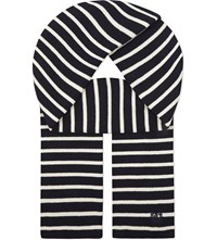 The Kooples Breton Stripe Wool Scarf Bordeau Navy