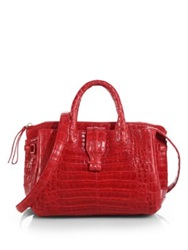 Nancy Gonzalez Cristina Small Crocodile Satchel Red Orange