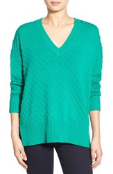 Women's 1.State Bubble Stitch V Neck Sweater Jade Green