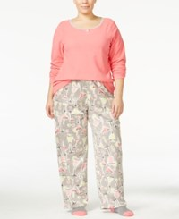 Hue Plus Size Microfleece Pajama Set With Socks Pink Cocktails
