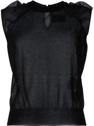 Kolor See Through Blouse Black