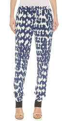 Vince Ikat Print Drawstring Pants Ink Off White