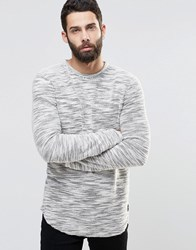 Only And Sons Crew Neck Slub Yarn Knitted Jumper With Curved Hem Off White