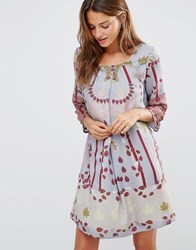 Lavand Floral Boho Dress Gy Grey