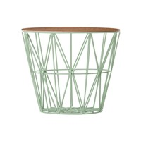 Ferm Living Medium Wire Basket Mint With Smoked Oak Lid