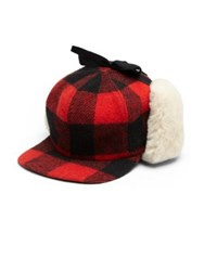 Crown Caps Buffalo Check Shearling Hat Black Red