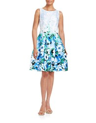 Chetta B Floral Fit And Flare Dress Blue Bonnet
