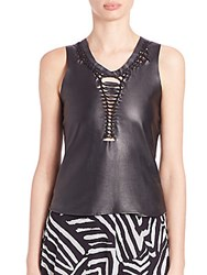 Love Moschino Leather Weave Detail Tank Black