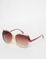 Asos Oversized 70S Sunglasses In Pink Graduated Frame Multi