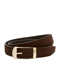Canali Solid Suede Belt Unisex Dark Brown