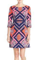 Vince Camuto Women's Geo Print Crepe A Line Dress Pink Multi