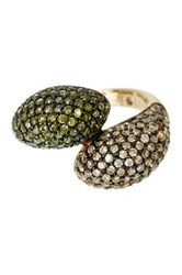 Suzy Levian Jewelry 14K Gold Plated Sterling Silver Green And Chocolate Cz Ring Brown