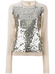 Emilio Pucci Sequin Embellished Jumper Nude And Neutrals