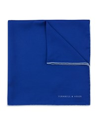 Turnbull And Asser Basic Solid Pocket Square With Border Royal