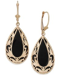 Macy's Onyx Teardrop Decorative Framed Drop Earrings 28Mm X 16Mm In 14K Gold Black