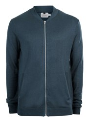 Topman Denim Blue Knitted Bomber Jacket