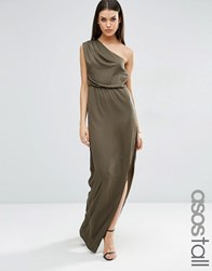 Asos Tall One Shoulder Drape Maxi Dress Khaki Green