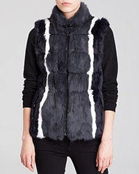 Jocelyn Reversible Striped Rabbit Fur And Knit Vest Navy White
