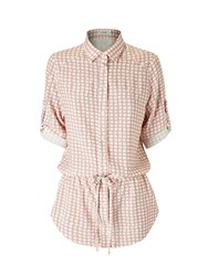 Lavand Printed Shirt With Tie Belt Nude
