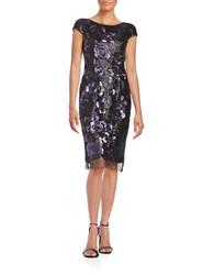 Vera Wang Sequined Mesh Trim Dress Black Purple