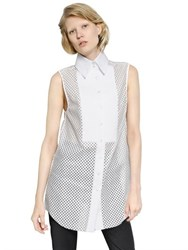 Ellery Sleeveless Laminated Cotton Lace Shirt