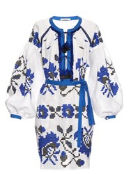 Vita Kin Geometric Embroidered Linen Dress Blue White