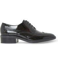 Dune Franklyne Patent Leather Lace Up Brogues Black Hi Shine