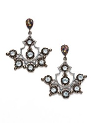 M.C.L By Matthew Campbell Laurenza Multicolor Sapphire And Blue Topaz Chandelier Earrings Silver Multi