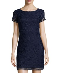 Laundry By Shelli Segal Floral Lace Short Sleeve Dress Inkblot
