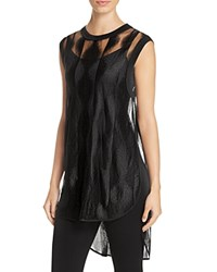 Dkny Sheer Geo Stripe High Low Tunic Black