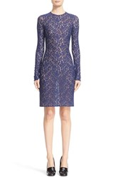 Michael Kors Women's Sheer Floral Stretch Lace Sheath Dress Sapphire